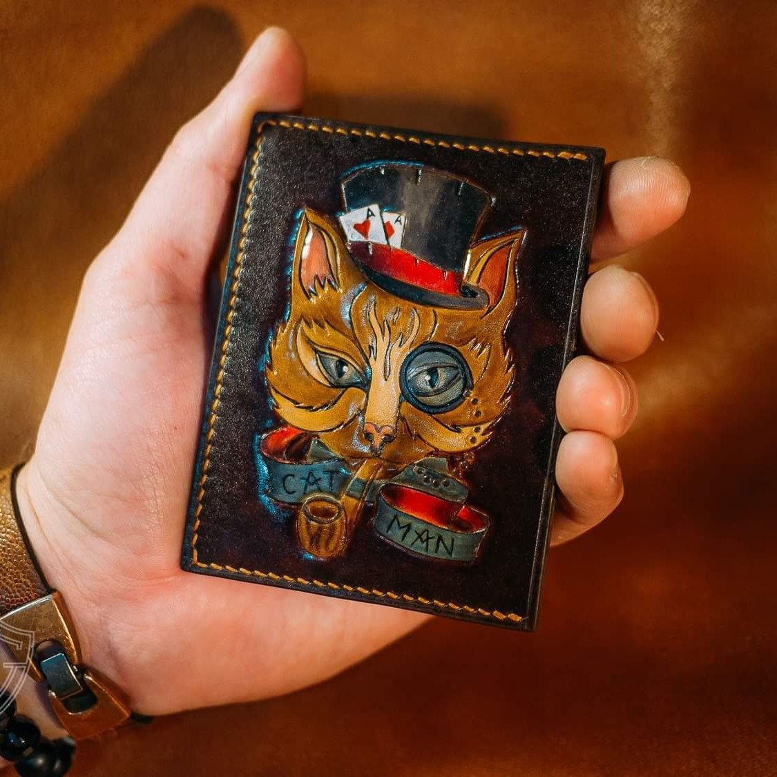 Old School image Old School tattoo Retro wallet Biker leather cardholder carved card wallet