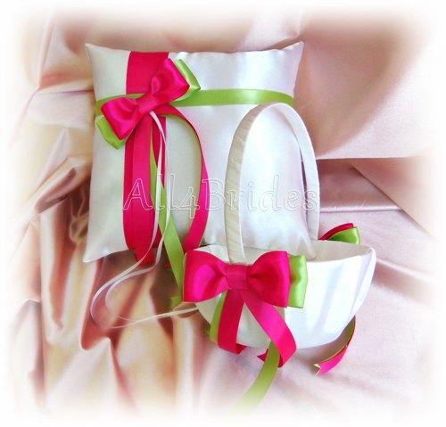 Hot Pink Fuschia Lime Green Wedding Flower Girl Basket and Pillow ...