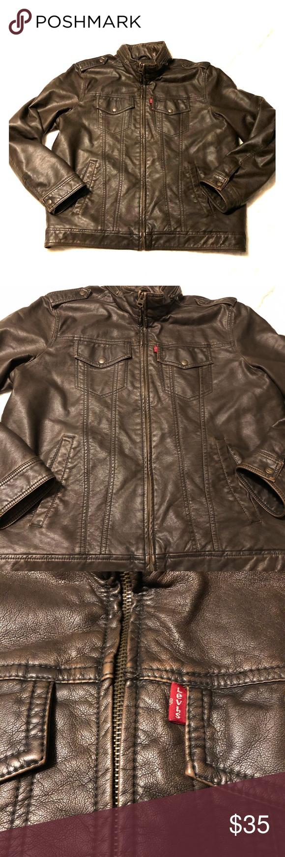 Levi S Men S Brown Faux Leather Jacket Large Leather Jacket Faux Leather Jackets Brown Faux Leather Jacket [ 1740 x 580 Pixel ]