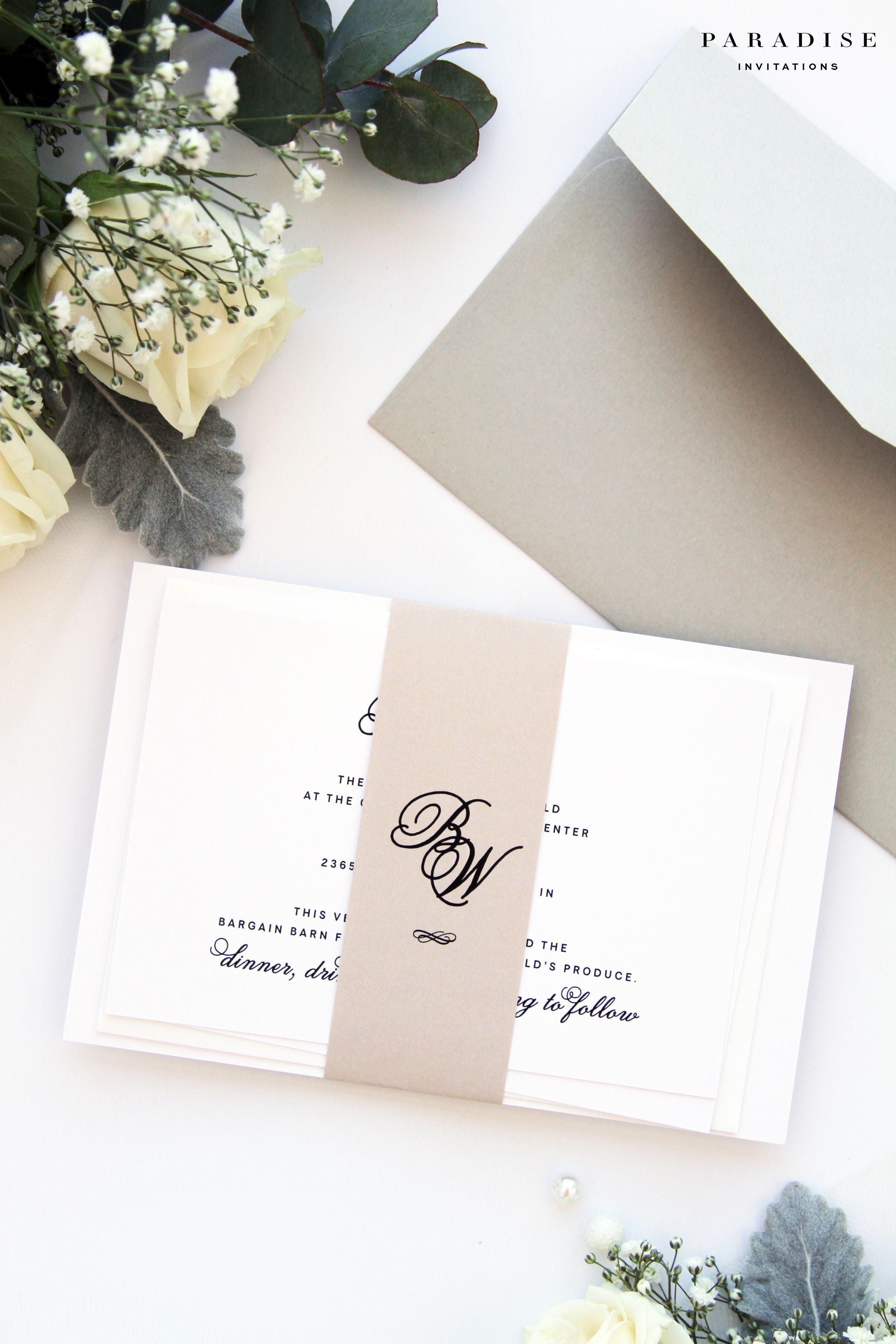 Bridget Champagne Calligraphy Wedding Invitation Sets, Invitation ...