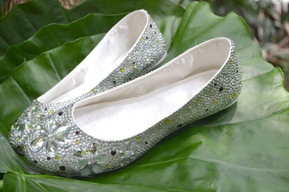 custom crystal Bridal Flats by DLbaby9 on Etsy, $139.99
