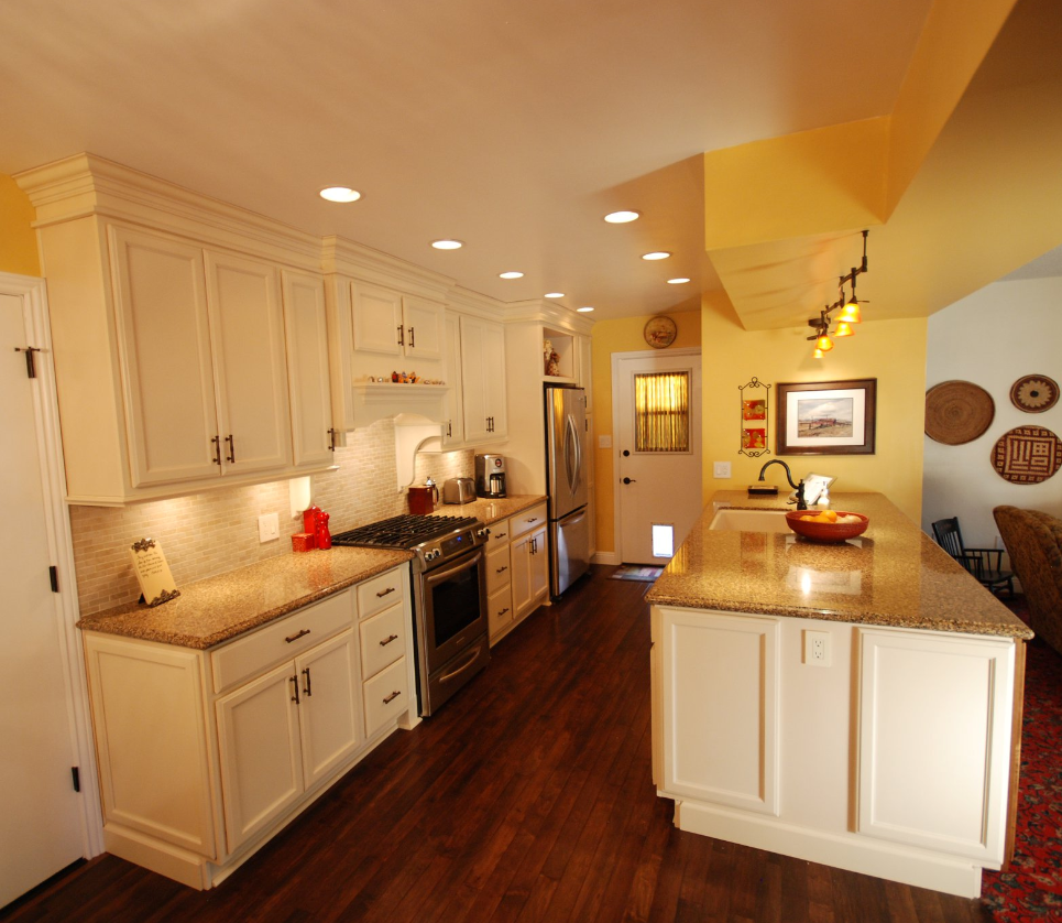 Molding For Kitchen Cabinets Tops: KraftMaid Bisque Glaze Cabinets With Cambria Brownhill