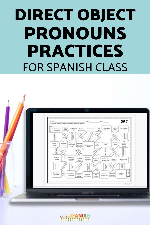 Direct Object Pronoun Spanish Maze Practice Activity With Digital Version Srta Spanish In 2021 Object Pronouns Spanish Lesson Plans High School Spanish