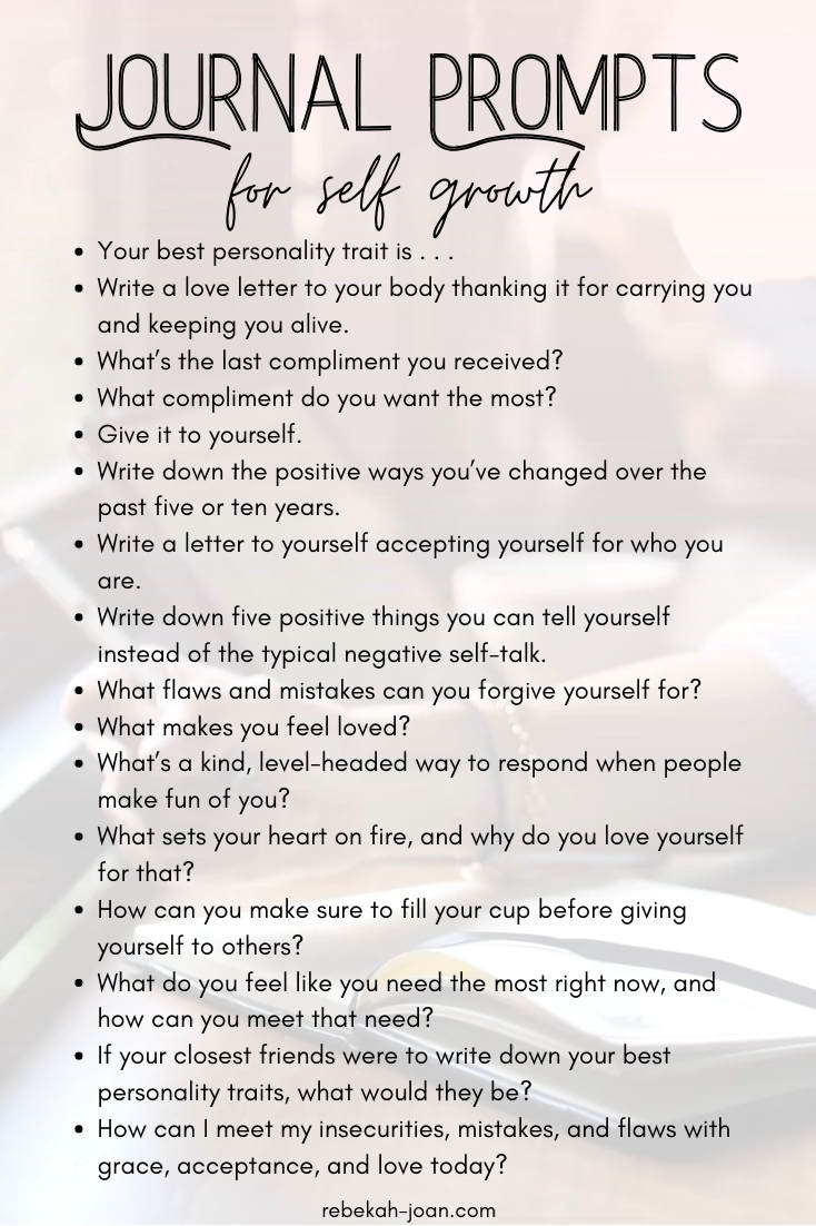 A great self love practice is personal growth journal prompts. This is a great way to get to know yourself through journaling, and it's also a form of self care if you use self love journal prompts. Overall, these writing prompts are meant to guide you through personal development, improving your mindset, + helping you manage stress. Journal out your thoughts with these writing prompts for self reflection, discovery, inspiration, and motivation. #journaling #journalprompts #selfimprovement