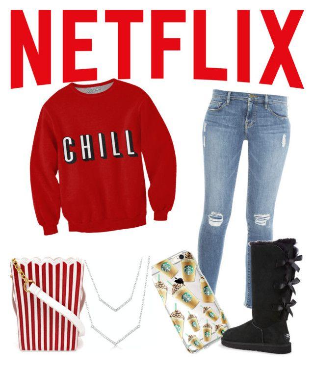 Netflix and Chill? by mekaboo142 on Polyvore featuring polyvore fashion style Frame Denim UGG Australia MUA MUA