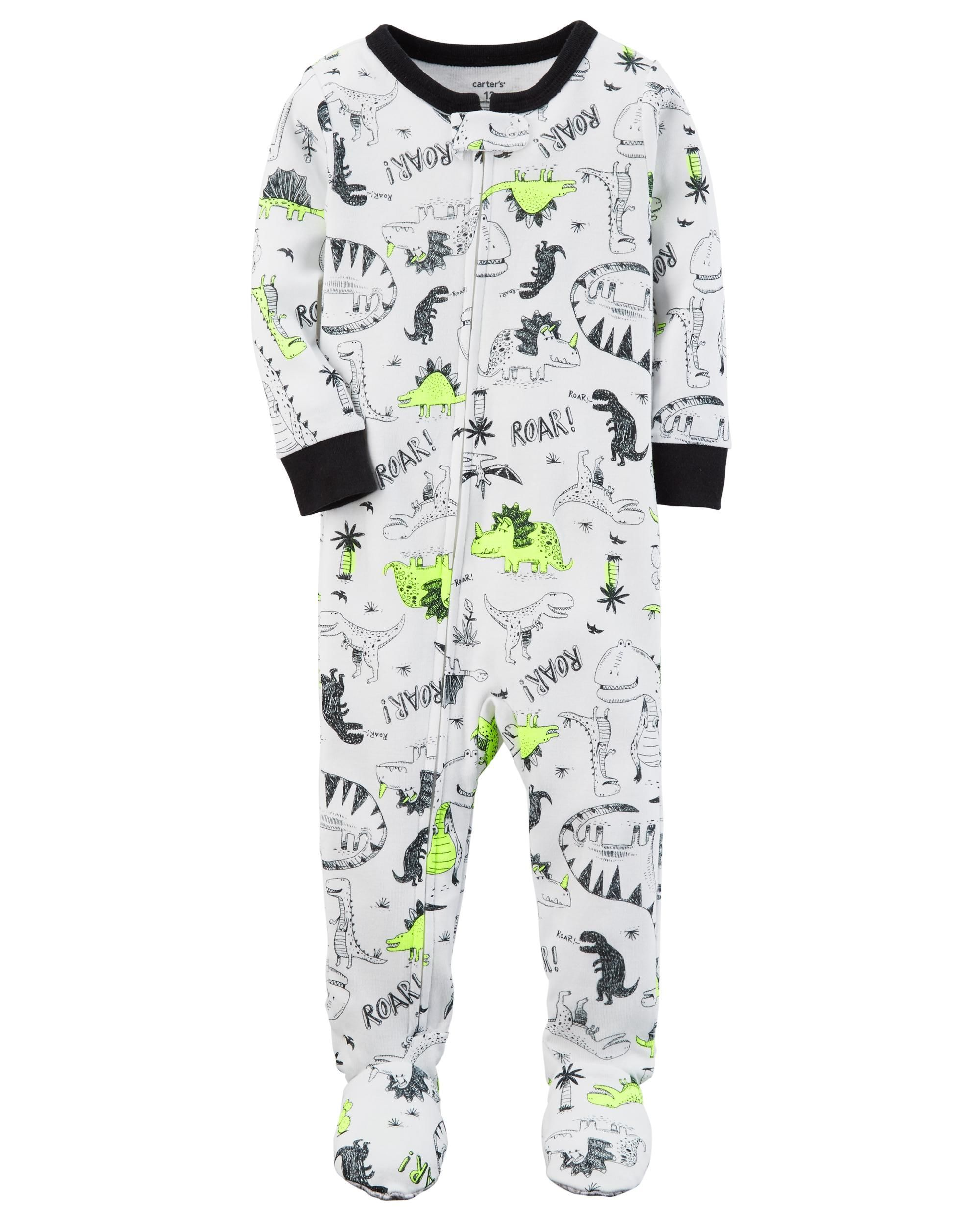 8e43d7146 Baby Boy 1-Piece Neon Dinosaur Snug Fit Cotton PJs