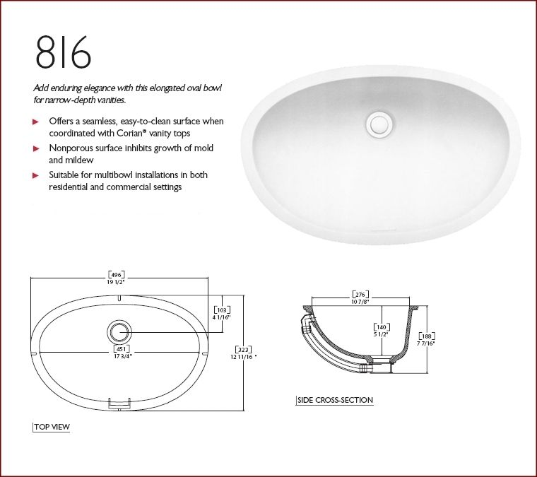 corian 816 sinks are designed for