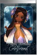 Girlfriend Birthday Card - Cute Blue Fairy card