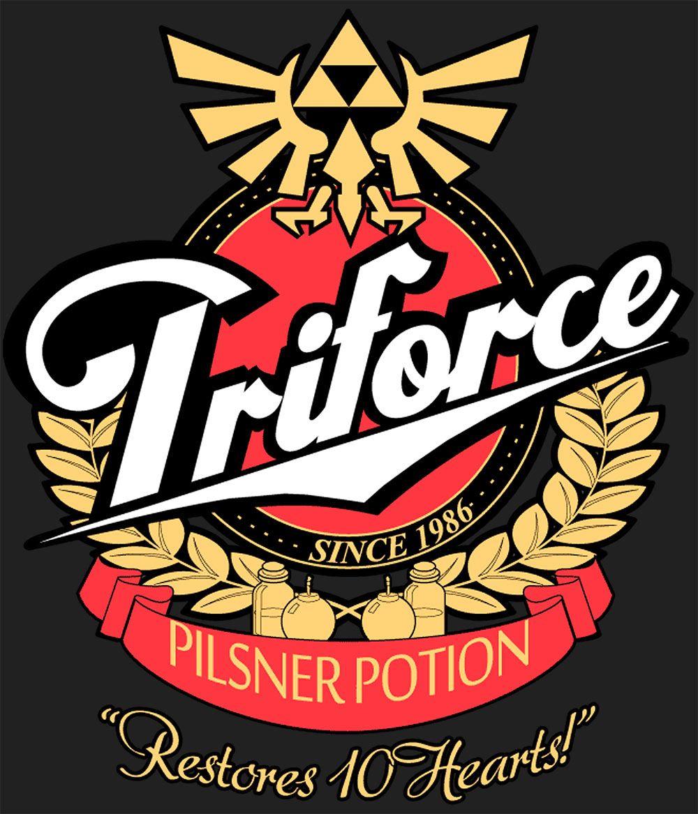 Camiseta Legenf of Zelda, Triforce logo pilsner potion