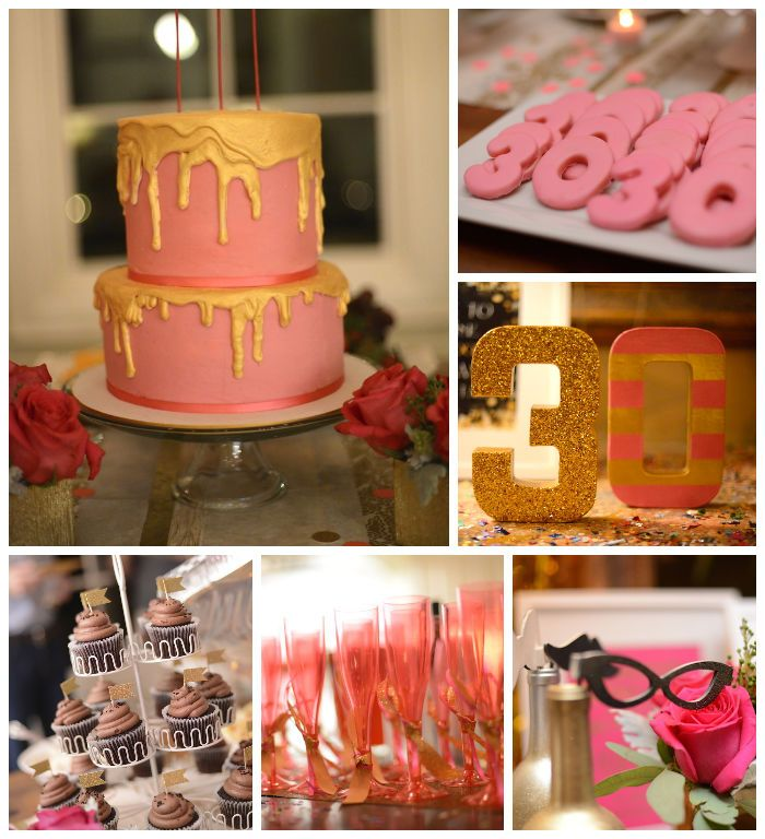 Pink gold and old 30th birthday party with lots of for 30th anniversary party decoration ideas