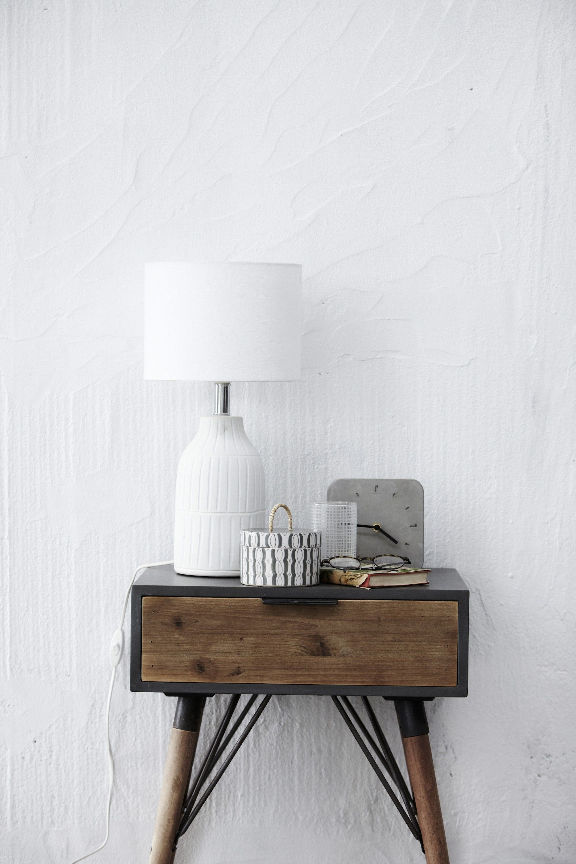 Retro Style Container Bedside Table: Iron & Wood Table