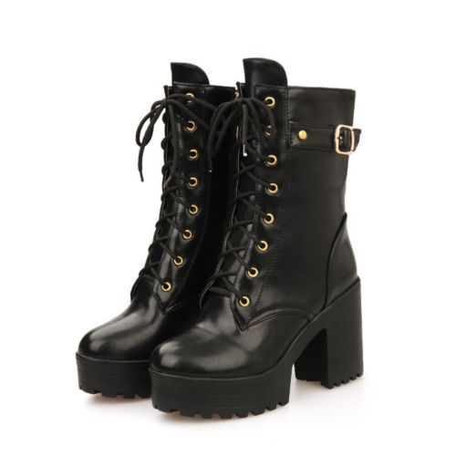 Femmes Punk Lace Up Plateforme Militaire Bout Rond Chunky Heelsmid Veau