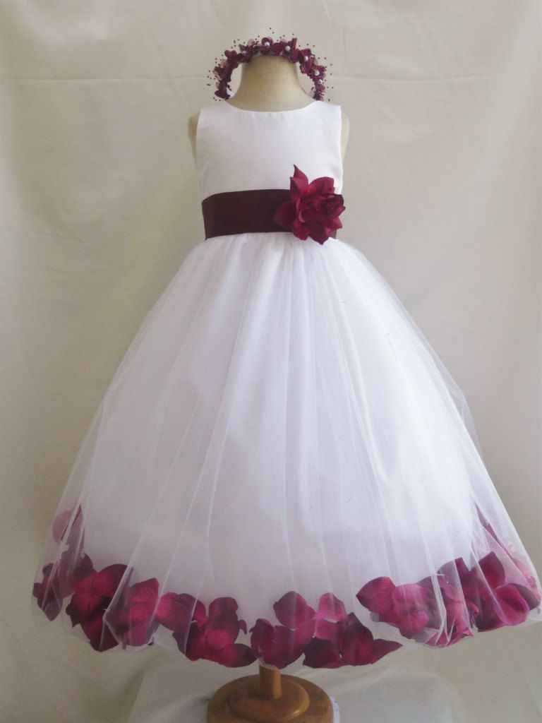 Flowergirldresswhiteburgundypetalweddingbynollacollection flowergirldresswhiteburgundypetalweddingby ombrellifo Image collections