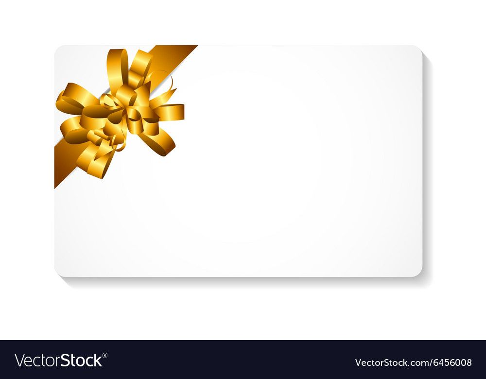 Gift Card With Gold Bow And Ribbon Royalty Free Vector Image