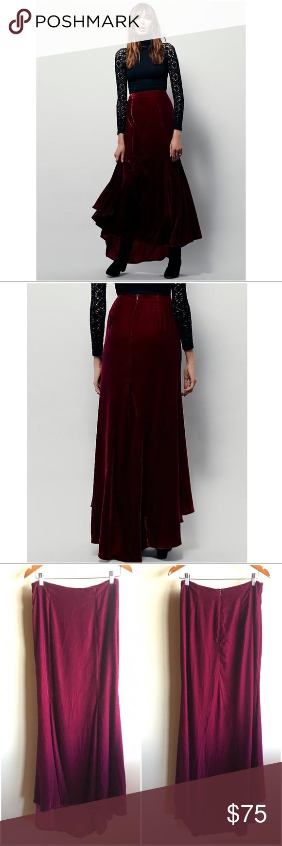 d503745e706 Free People X Curtain Call velvet maxi skirt Rare