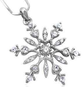 """Large 1-1/4"""" Silver Tone Snowflake Crystal Pendant Necklace Winter Christmas Bridal Fashion Jewelry"""