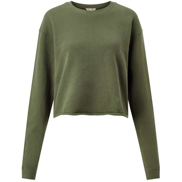 Miss Selfridge Khaki Cropped Sweatshirt ( 35) ❤ liked on Polyvore featuring  tops 224fbdaaf