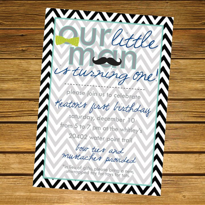 Little Man Mustache and Bow Tie Birthday Party Invitation. $18.00 ...