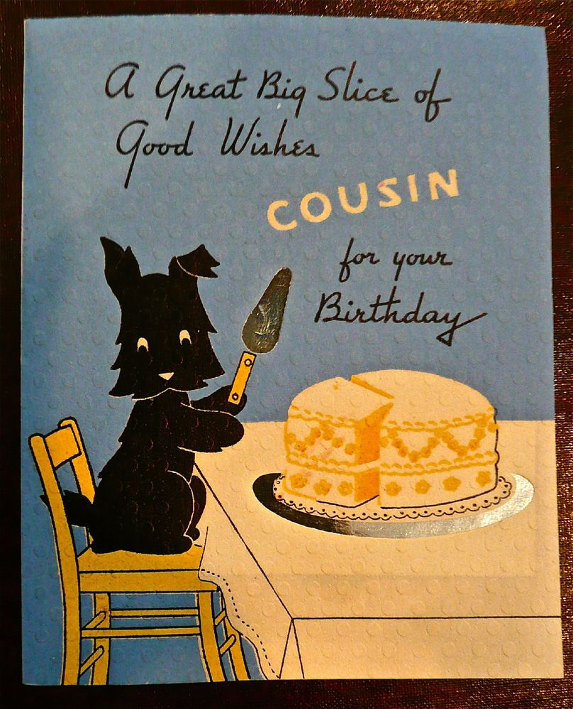 Vintage Birthday Card Scottie Dog Silver Foil Highlightd