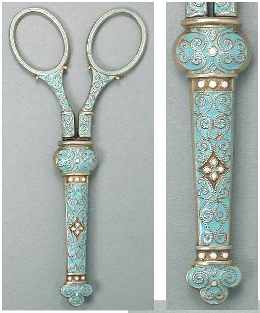 "Norwegian Enameled Sterling Sterling Scissors by David Anderson / The handles of these gilded sterling silver scissors are covered with raised scrolling wave designs that are filled with a pale blue enamel. The matching sheath also has white enameled dots & flowers. The scissors are marked ""925S"" & have the maker's mark that David Andersen used between 1888-1925. The sheath is lined with the original velvet."