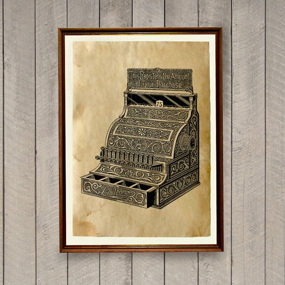 Nice vintage print on aged paper. Cool antique style old cash ...