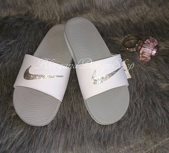 promo code 04d96 cfa98 Nike Kawa Slides Customized with Swarovski Crystals. Check out this item in  my Etsy shop