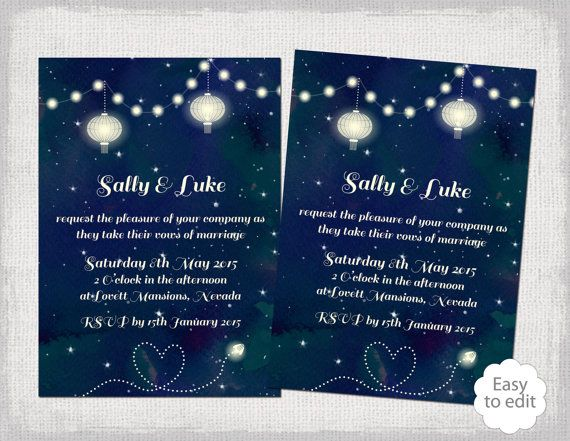 Printable Wedding Invitation Template Starry Night Navy Garden Party Invitations YOU EDIT Star Digital Word Instant Download