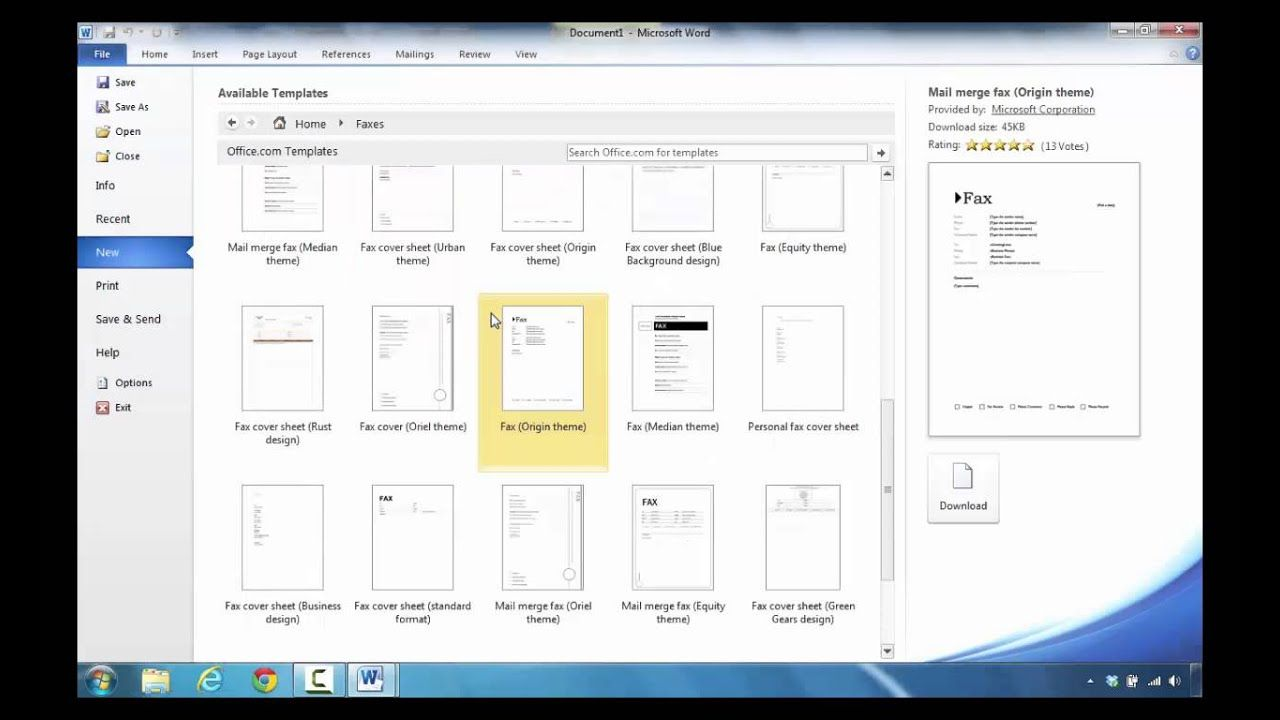 How To Create A Fax In Microsoft Word 2010 Inside Fax