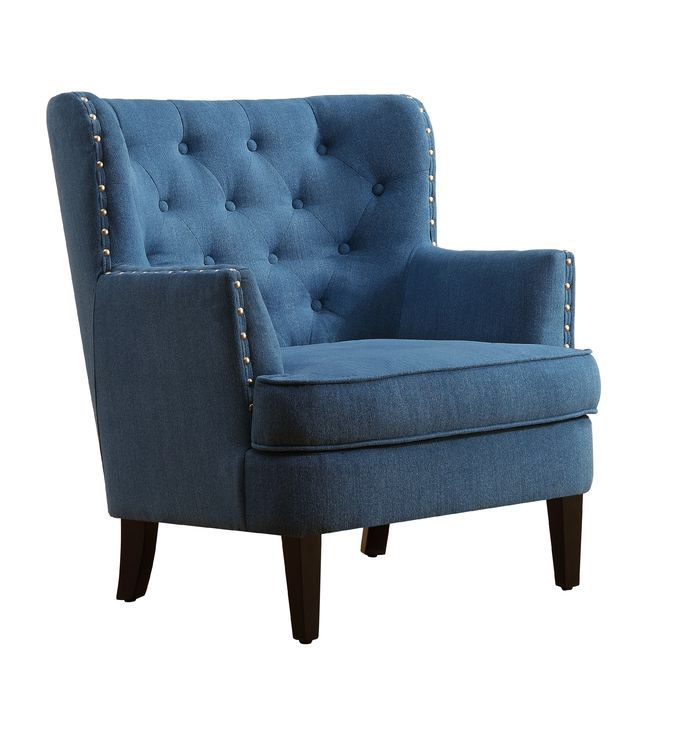 Chrisanna Tufted Upholstered Club Chair Blue Accent