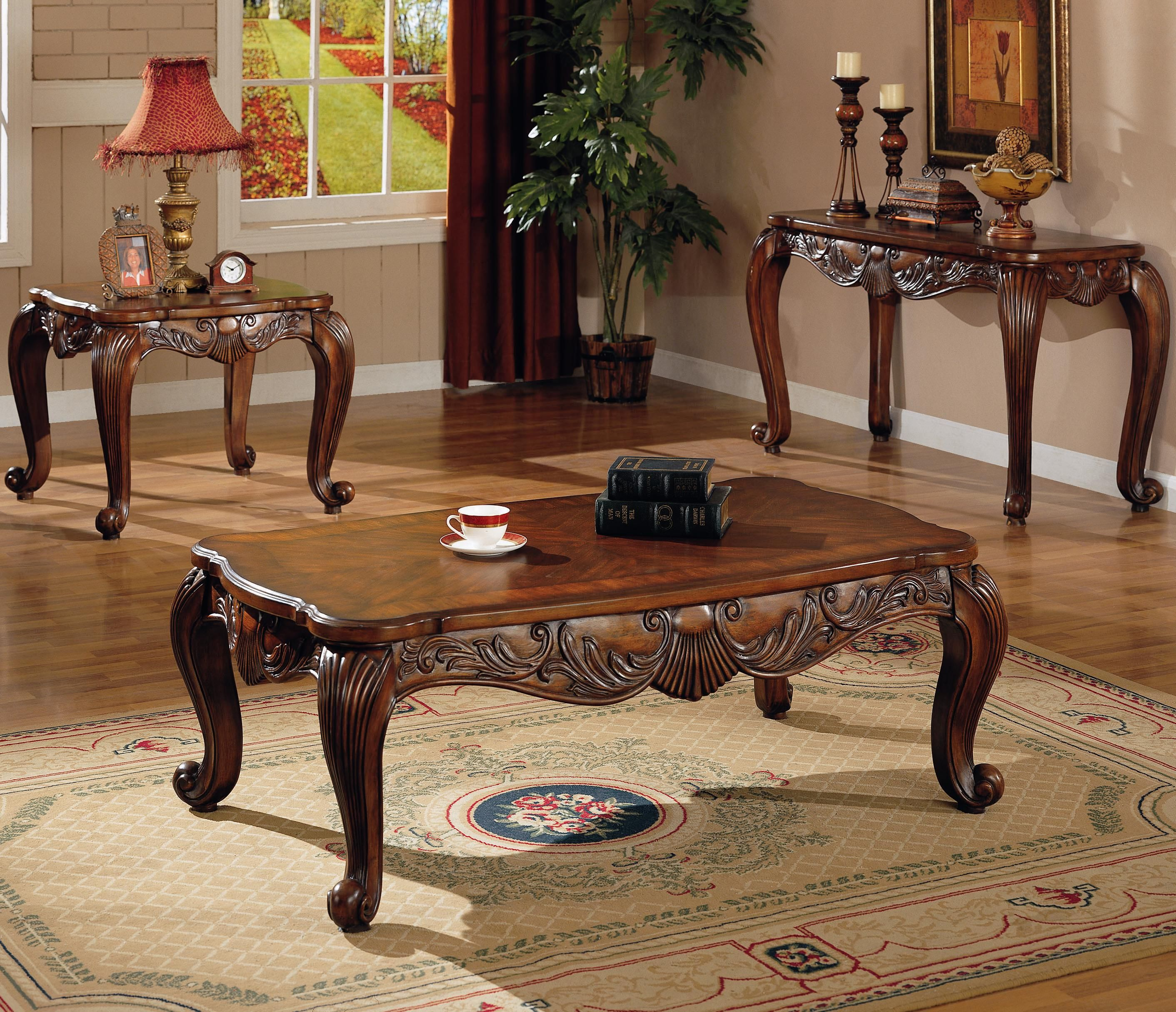 3 Pc Traditional Coffee End Table Set Living Room & Coaster Venice Traditional Square End Table - Rooms Furniture - End ...