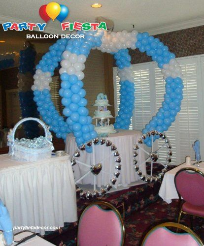 Display Baby Shower: Princess Carriage Balloon Display #baby Shower