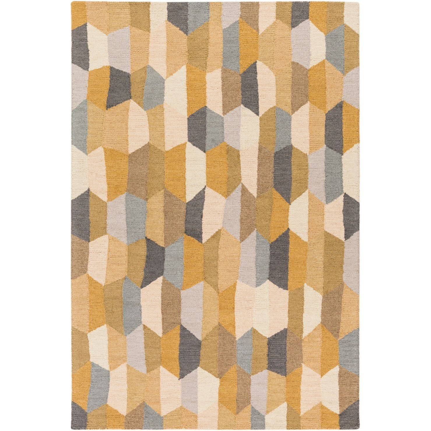 Hand Tufted Lankershim Wool Area Rug 5 X 7 6 Green Gold Grey