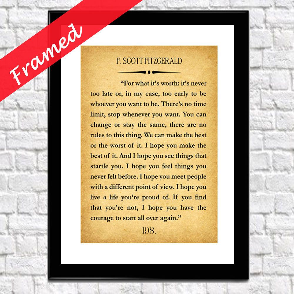 F Scott Fitzgerald For What It\'s Worth Framed Quote Gatsby Quote The ...
