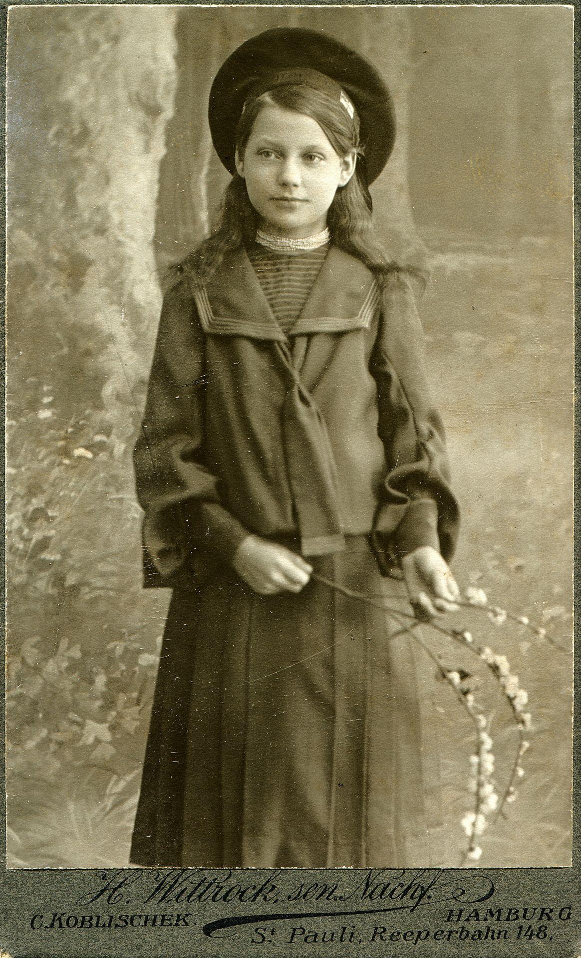 "onceuponatown: "" Portrait of a girl - Germany - c.1905 Studio: H.Wittrock, sen. Nachf. (C.Koblischek) - Hamburg """