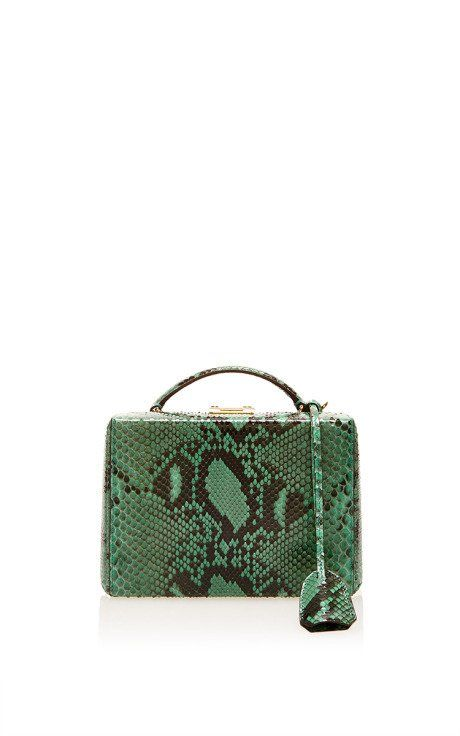Grace Small Box In Emerald Python by Mark Cross for Preorder on Moda Operandi
