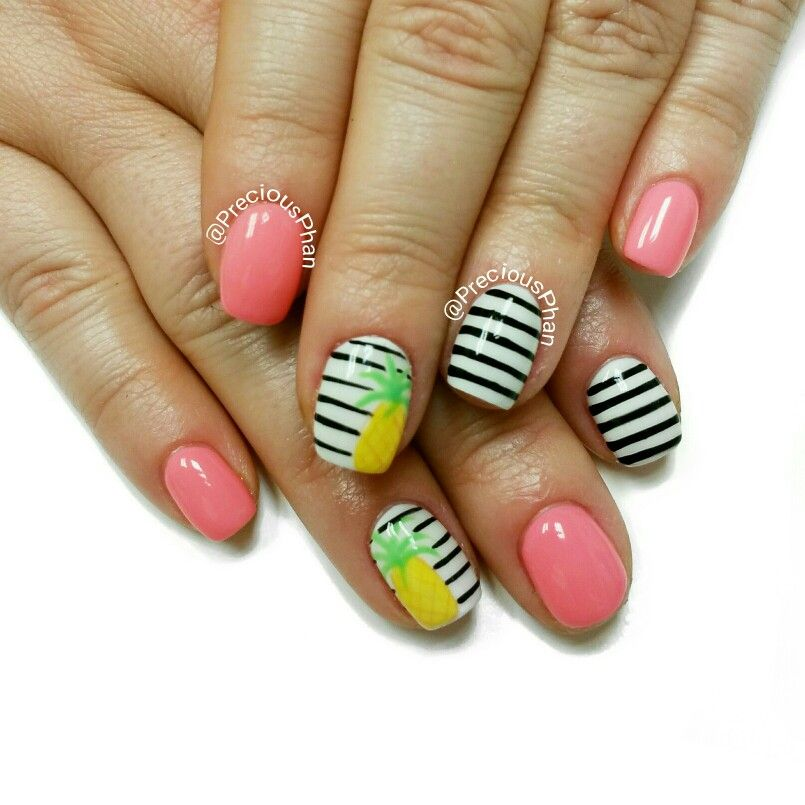 Pineapple nails. Black and white nails. #PreciousPhanNails ...
