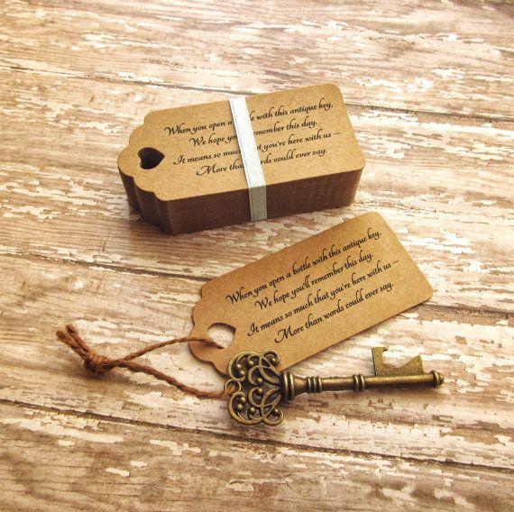 Skeleton Key Bottle Openers Poem Thank You Tags Etsy Key Bottle Opener Halloween Wedding Favors Wedding Gift Favors