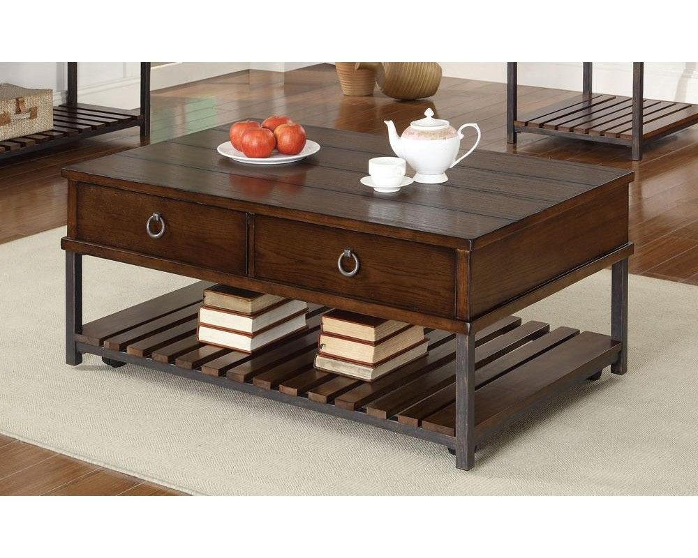 Coaster 702808 tobacco two drawer slated wood coffee table