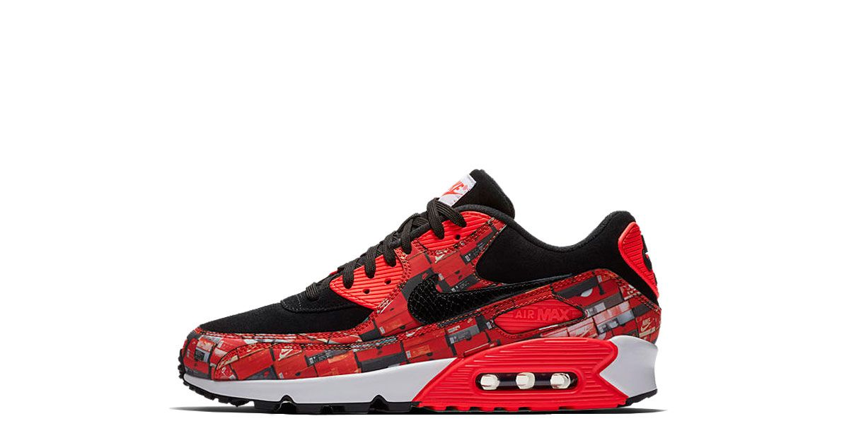 brand new 33c95 2a63a ATMOS x Nike Air Max 90 We Love Nike Release  26.05.2018 Colorway   Black Bright Crimson-White Style-Code  AQ0926-001