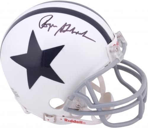 d84233307 Roger Staubach Dallas Cowboys Autographed 2-Bar Riddell Throwback Mini  Helmet