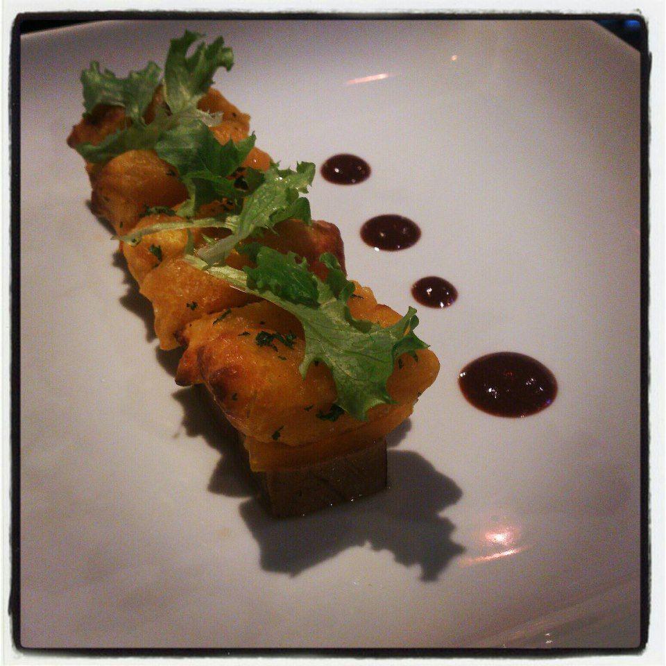 weet potato gnocchi, bluefin tuna tataki, Texas heirlooms, strawberry balsamic gastrique