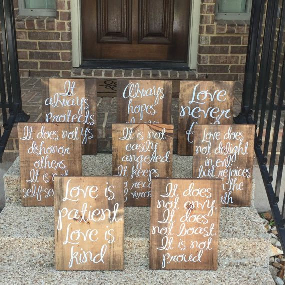 Wedding Aisle Signs Love Is Patient Love Is Kind Wood