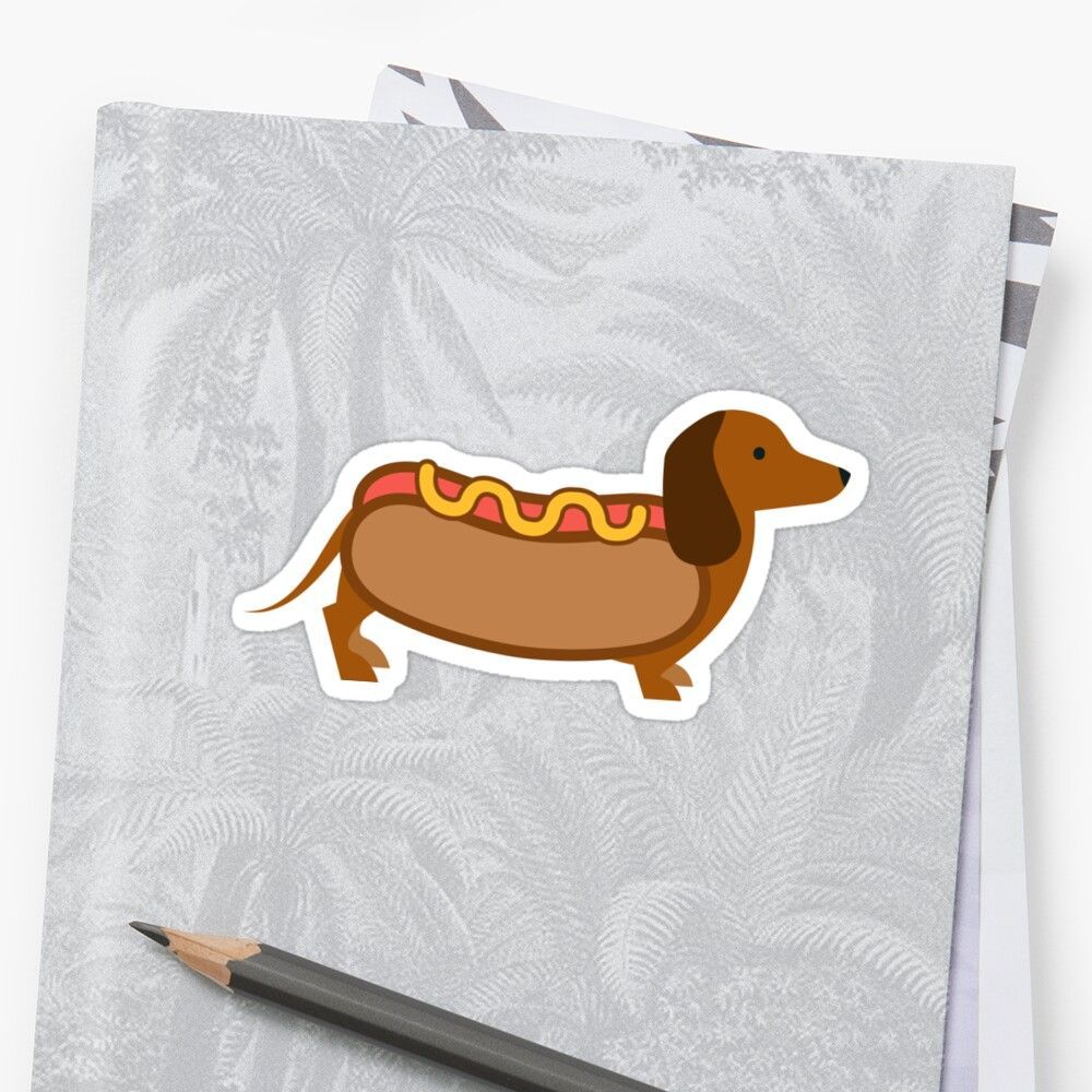 Hotdog Weiner Dog Sticker By Breynoldsdesign Weiner Dog Dog Stickers Stickers [ 1000 x 1000 Pixel ]