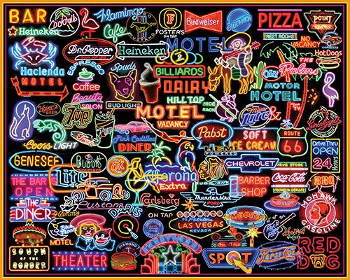 Neon Signs Jigsaw Puzzle Collage Puzzle White Mountain Puzzles Neon Signs Hardest Jigsaw Puzzle Neon