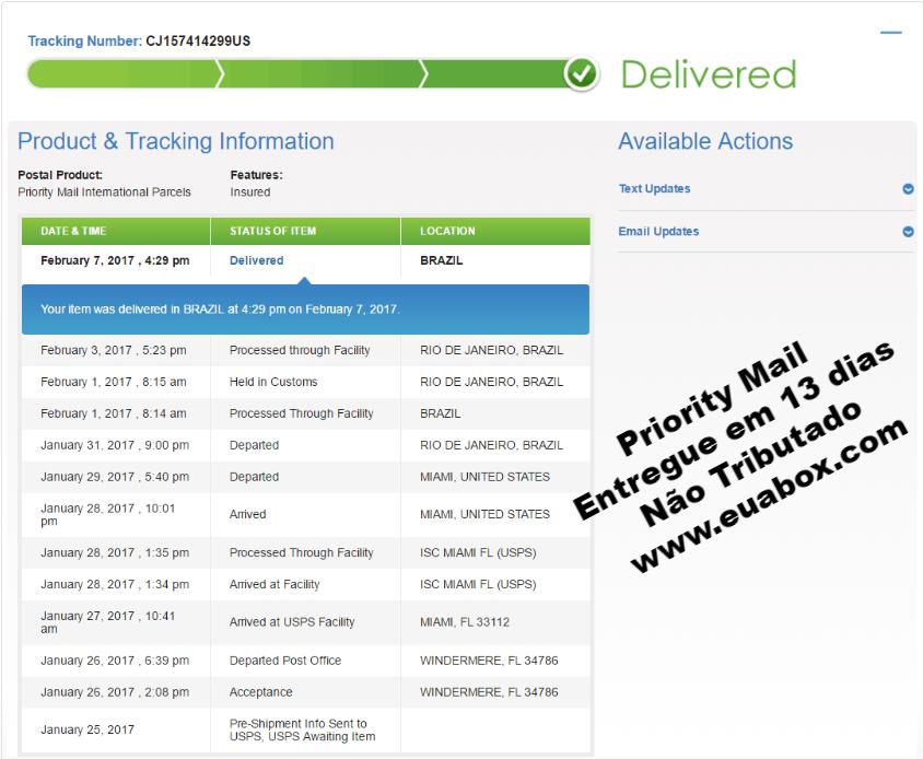 Quanto tempo para as encomendas serem entregues no Brasil, usando a EUA BOX como redirecionador nos EUA?