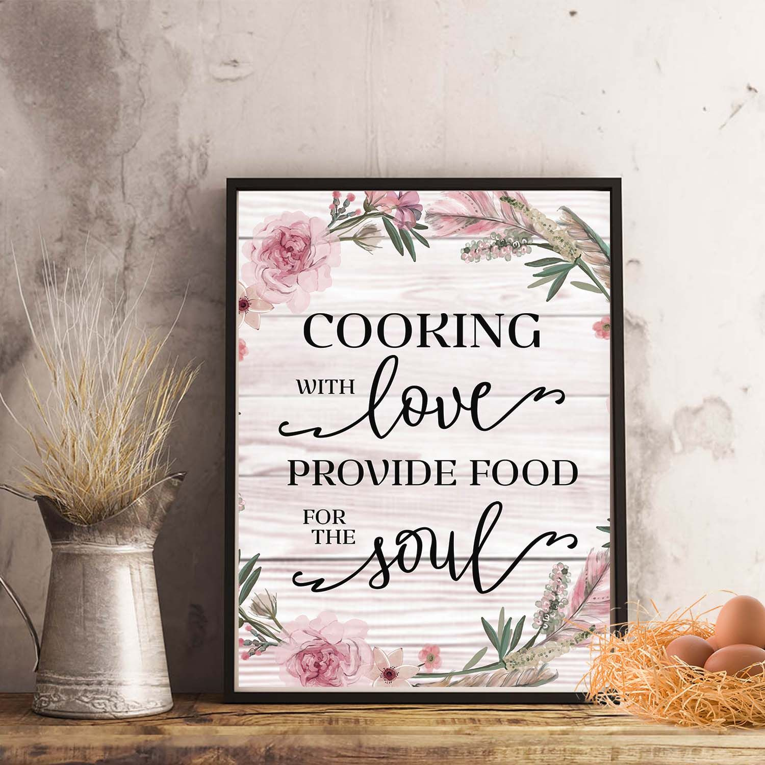 cooking with love provide food for the soul kitchen printable home decor quotes poster on kitchen quotes printable id=47236