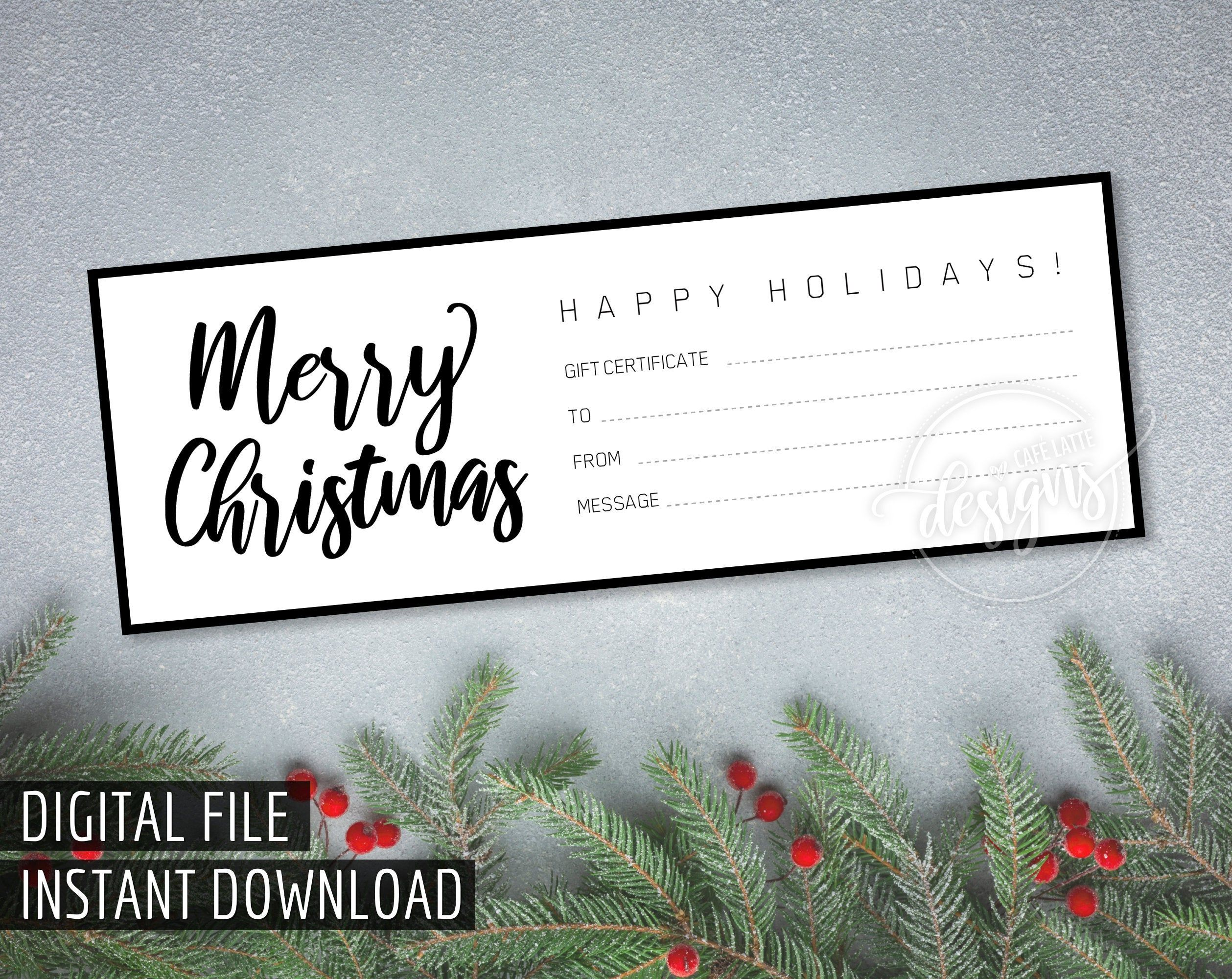 Christmas Gift Certificate Printable Gift Certificate Gift Coupon Instant Download Xmas Gift Idea Holiday Gift Black White Diy Printable Gift Certificate Christmas Gift Certificate Holiday Gift Certificates