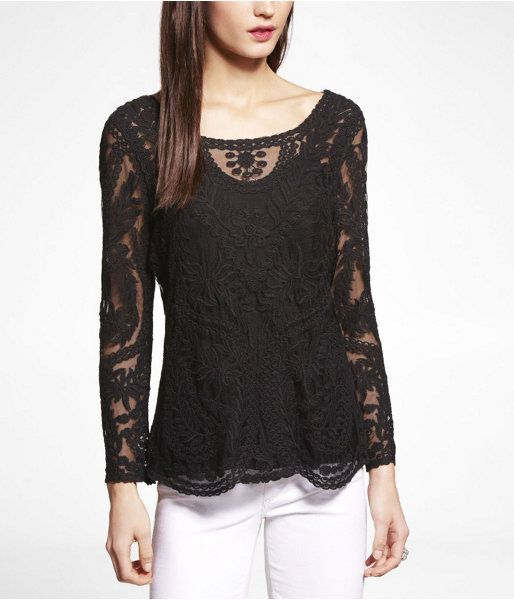 c797fc56995216 Express Embroidered Lace Tee on shopstyle.com | tops | Embroidered ...