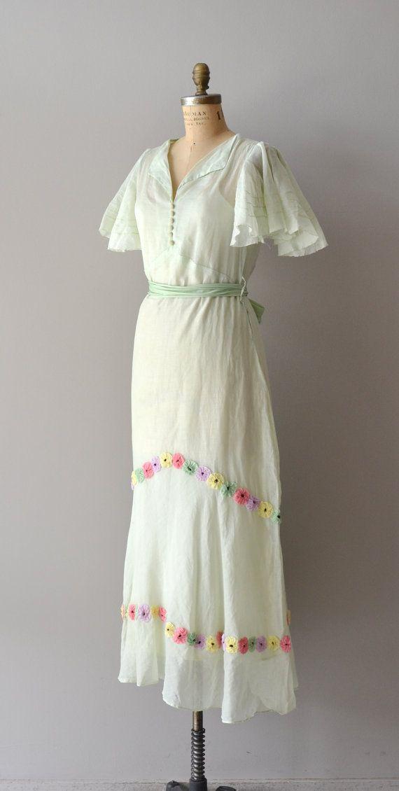 1930s Dress  Honeysuckle Daisy Dress  vintage 30s cotton dress