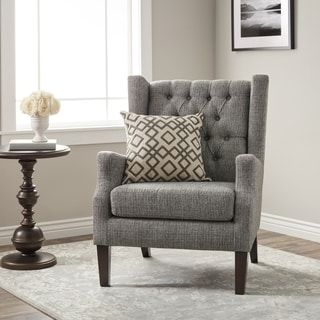 Maxwell Gray Tufted Wingback Chair  Living Room  Pinterest Impressive Wing Chairs For Living Room Design Decoration